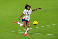 ORLANDO CITY, FL - FEBRUARY 18: Margaret Purce #20 prepares to shoot during a game between Canada and USWNT at Exploria stadium on February 18, 2021 in Orlando City, Florida.