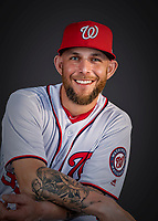 22 February 2019: Washington Nationals infielder Brandon Snyder poses for his Photo Day portrait at the Ballpark of the Palm Beaches in West Palm Beach, Florida. Mandatory Credit: Ed Wolfstein Photo *** RAW (NEF) Image File Available ***