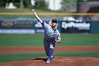 Surprise Saguaros starting pitcher Zach Lovvorn (34), of the Kansas City Royals organization, delivers a pitch to the plate during an Arizona Fall League game against the Scottsdale Scorpions on October 27, 2017 at Scottsdale Stadium in Scottsdale, Arizona. The Scorpions defeated the Saguaros 6-5. (Zachary Lucy/Four Seam Images)