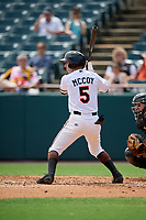 Bowie Baysox Mason McCoy (5) at bat during an Eastern League game against the Akron RubberDucks on May 30, 2019 at Prince George's Stadium in Bowie, Maryland.  Akron defeated Bowie 9-5.  (Mike Janes/Four Seam Images)