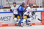 Mirko Höfflin (Nr.10 - ERC Ingolstadt) muss sich gegen Leonhard Pföderl (Nr.93 - Eisbären Berlin) und Jonas Müller (Nr.18 - Eisbären Berlin) durchsetzen  beim Spiel im Halbfinale der DEL, ERC Ingolstadt (dunkel) - Eisbaeren Berlin (hell).<br /> <br /> Foto © PIX-Sportfotos *** Foto ist honorarpflichtig! *** Auf Anfrage in hoeherer Qualitaet/Aufloesung. Belegexemplar erbeten. Veroeffentlichung ausschliesslich fuer journalistisch-publizistische Zwecke. For editorial use only.