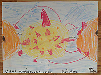 """Virus Attacking Cells"" Drawing by MacIntrye Robich, Grade 3, Yarmouth, ME, USA"