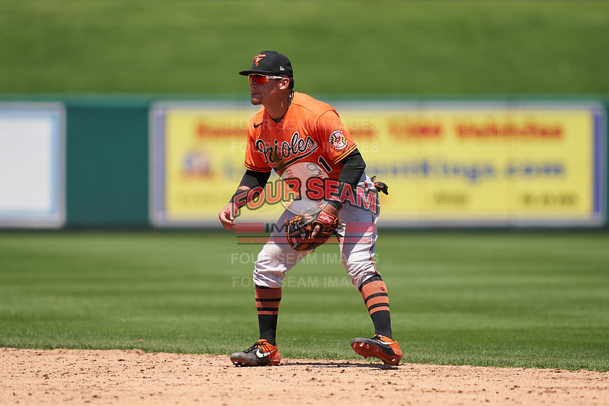 Baltimore Orioles second baseman Joseph Ortiz (91) during a Minor League Spring Training game against the Detroit Tigers on April 14, 2021 at Joker Marchant Stadium in Lakeland, Florida.  (Mike Janes/Four Seam Images)