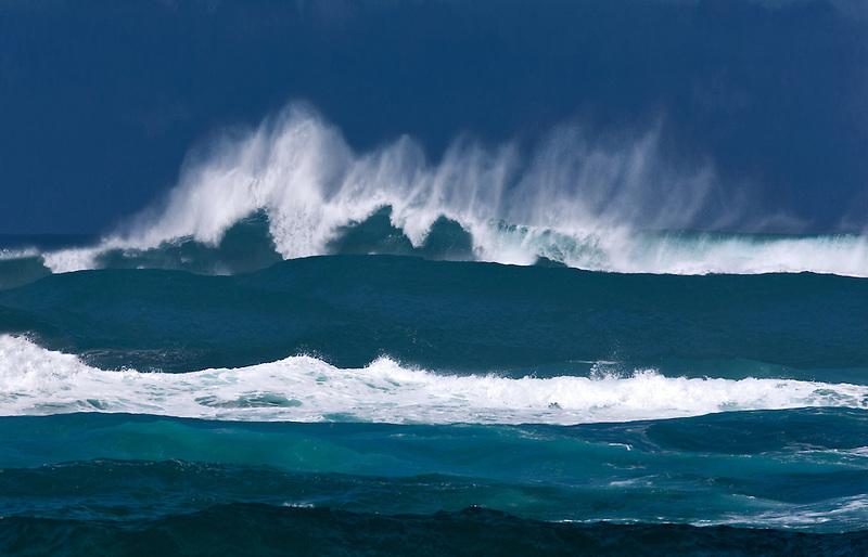Large storm waves off Kauai coast. Hawaii.