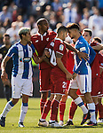 Vitolo of Sevilla FC clashes with Carl Medjani of Deportivo Leganes as Ruben Perez of Deportivo Leganes is injured during their La Liga match between Deportivo Leganes and Sevilla FC at the Butarque Municipal Stadium on 15 October 2016 in Madrid, Spain. Photo by Diego Gonzalez Souto / Power Sport Images