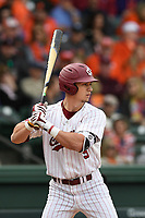 Center fielder TJ Hopkins (5) of the South Carolina Gamecocks bats against the Clemson Tigers on Saturday, March 2, 2019, at Fluor Field at the West End in Greenville, South Carolina. Clemson won, 11-5. (Tom Priddy/Four Seam Images)