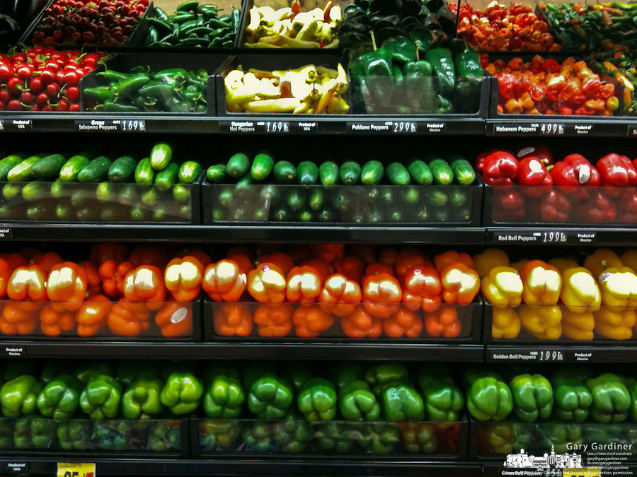 Vegetables on display in produce section of grocery store. On an iPhone.