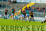 Gavin White (Captain), Dr. Crokes in action against Darran O'Sullivan, Peter Crowley, Mid Kerry  during the Kerry County Senior Football Championship Semi-Final match between Mid Kerry and Dr Crokes at Austin Stack Park in Tralee, Kerry.