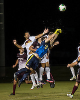 The Winthrop University Eagles played the College of Charleston Cougars at Eagles Field in Rock Hill, SC.  College of Charleston broke the 1-1 tie with a goal in the 88th minute to win 2-1.  Alex Young (28), Connor Coons (c17), Adriano Negri (17), Achille Obougou (7)