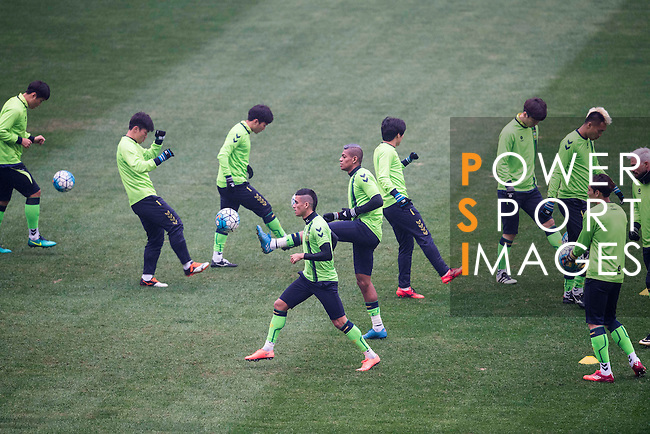 Jeonbuk Hyundai Motors warm up during a training session ahead the 2016 AFC Champions League Final 1st Leg match between Jeonbuk Hyundai Motors (KOR) and Al Ain (UAE) at Jeonju World Cup Stadium on 18 November 2016, in Jeonju, South Korea. Photo by Victor Fraile / Power Sport Images