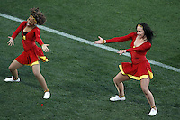 cheerleaders on the pitch before the Slovenia v USA game