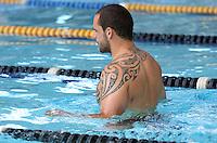Warriors pool session after training at Carisbrook, Moana pool, Dunedin, New Zealand, Friday, February 20, 2013. Credit:NINZ / Dianne Manson.