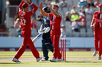 17th July 2021; Emirates Old Trafford, Manchester, Lancashire, England; T20 Vitality Blast Cricket, Lancashire Lightning versus Yorkshire Vikings; First blood to Lancashire Lightning Lightning as Luke Wood has Adam Lyth of Yorkshire Vikings caught behind in the second over for just 8