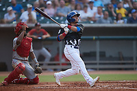 Carlos Sepulveda (27) of the Tennessee Smokies follows through on his swing against the Chattanooga Lookouts at Smokies Stadium on July 31, 2021, in Kodak, Tennessee. (Brian Westerholt/Four Seam Images)