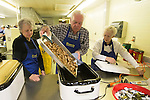 February 25, 2017- Tuscola, IL- A fresh batch of cooked sausage links are ready at the start of the annual Tuscola Kiwanis pancake and sausage breakfast fundraiser at Forty Martyrs. [Photo: Douglas Cottle]