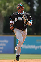 The Coastal Carolina University Chanticleers center fielder Rico Noel #1 running in from the outfield during the 2nd and deciding game of the NCAA Super Regional vs. the University of South Carolina Gamecocks on June 13, 2010 at BB&T Coastal Field in Myrtle Beach, SC.  The Gamecocks defeated Coastal Carolina 10-9 to advance to the 2010 NCAA College World Series in Omaha, Nebraska. Photo By Robert Gurganus/Four Seam Images