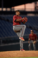 AZL D-backs relief pitcher Francis Beriguete (18) during an Arizona League game against the AZL Cubs 1 on July 25, 2019 at Sloan Park in Mesa, Arizona. The AZL D-backs defeated the AZL Cubs 1 3-2. (Zachary Lucy/Four Seam Images)