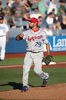 Alex Eubanks (29) of the Spokane Indians pitches against the Hillsboro Hops at Ron Tonkin Field on July 22, 2017 in Hillsboro, Oregon. Spokane defeated Hillsboro, 11-4. (Larry Goren/Four Seam Images)