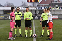referee Niels Bossuyt with his assistant referees Sam Decroo and Tim Rasschaert  and captaind Pauline Windels (5) of Zulte-Waregem and Noemie Fourdin (11) of Sporting Charleroi pictured during a female soccer game between SV Zulte - Waregem and Sporting Charleroi on the eleventh matchday of the 2020 - 2021 season of Belgian Scooore Womens Super League , saturday 23 th of January 2021  in Zulte , Belgium . PHOTO SPORTPIX.BE | SPP | DIRK VUYLSTEKE