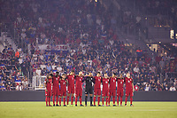Orlando, FL - Friday Oct. 06, 2017: USMNT Starting Lineup stands together to remember the victims of the tragedy in Las Vegas during a 2018 FIFA World Cup Qualifier between the men's national teams of the United States (USA) and Panama (PAN) at Orlando City Stadium.