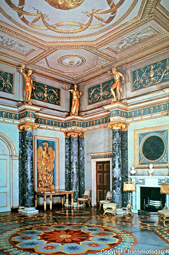 Syon House--Ante Room. Designed by Robert Adam in 1760's. London, England. Renaissance style.