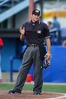Umpire Nate Caldwell during a NY-Penn League game between the Batavia Muckdogs and State College Spikes on July 29, 2013 at Dwyer Stadium in Batavia, New York.  State College defeated Batavia 2-1.  (Mike Janes/Four Seam Images)