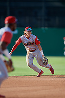 Williamsport Crosscutters shortstop Bryson Stott (15) during a NY-Penn League game against the Batavia Muckdogs on August 25, 2019 at Dwyer Stadium in Batavia, New York.  Williamsport defeated Batavia 10-3.  (Mike Janes/Four Seam Images)