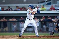 Vinnie Pasquantino (33) of the Burlington Royals at bat against the Danville Braves at Burlington Athletic Stadium on July 13, 2019 in Burlington, North Carolina. The Royals defeated the Braves 5-2. (Brian Westerholt/Four Seam Images)