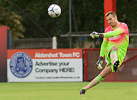 Goalkeeper Scott Brown of Wycombe Wanderers takes a free kick during the Friendly match between Aldershot Town and Wycombe Wanderers at the EBB Stadium, Aldershot, England on 26 July 2016. Photo by Alan  Stanford.
