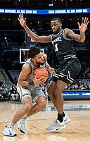 WASHINGTON, DC - FEBRUARY 19: Emmitt Holt #15 of Providence and Jamorko Pickett #1 of Georgetown clash during a game between Providence and Georgetown at Capital One Arena on February 19, 2020 in Washington, DC.
