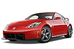 Low aggressive front three quarter view of a 2008 Nissan 350z Coupe Nismo.