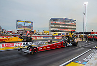 Sep 6, 2020; Clermont, Indiana, United States; NHRA top fuel driver Leah Pruett (near) races alongside Shawn Langdon during the final round of the US Nationals at Lucas Oil Raceway. Mandatory Credit: Mark J. Rebilas-USA TODAY Sports