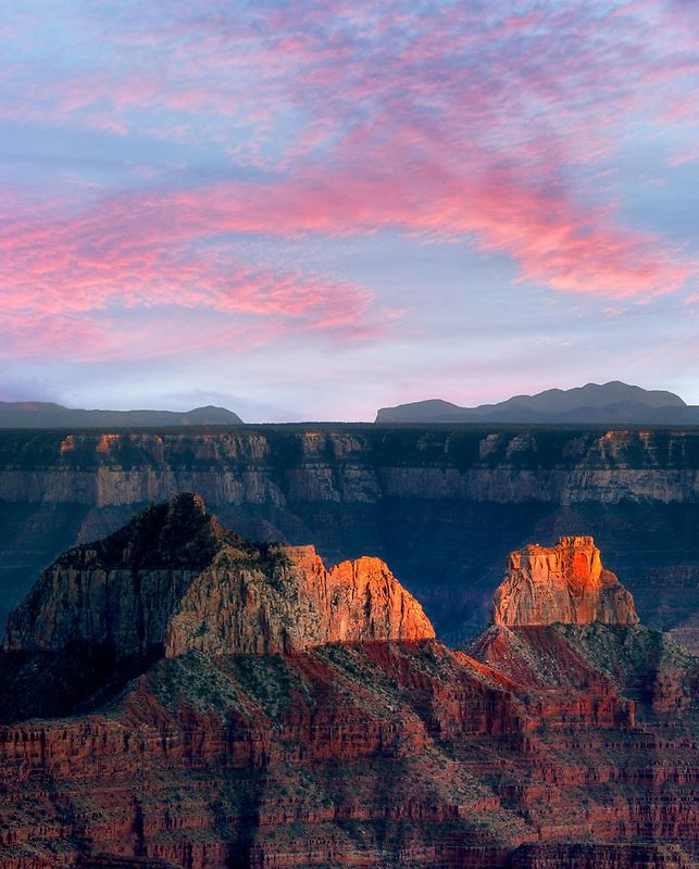 Last light and sunset over Grand Canyon National Park. North Rim, Arizona
