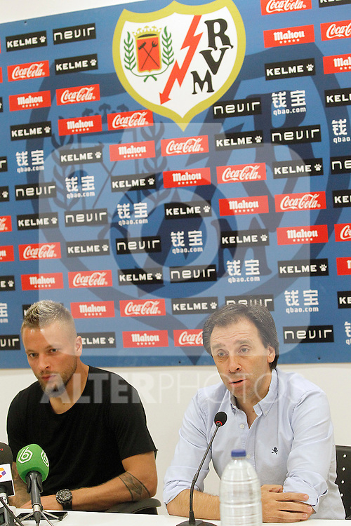 Rayo Vallecano's new player Patrick Ebert (l) withnthe General Manager Felipe Minambres during his official presentation. August 04, 2015. (ALTERPHOTOS/Acero)
