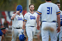 South Dakota State Jackrabbits center fielder Landon Badger (11) celebrates hitting a home run during a game against the Northeastern Huskies on February 23, 2019 at North Charlotte Regional Park in Port Charlotte, Florida.  Northeastern defeated South Dakota State 12-9.  (Mike Janes/Four Seam Images)