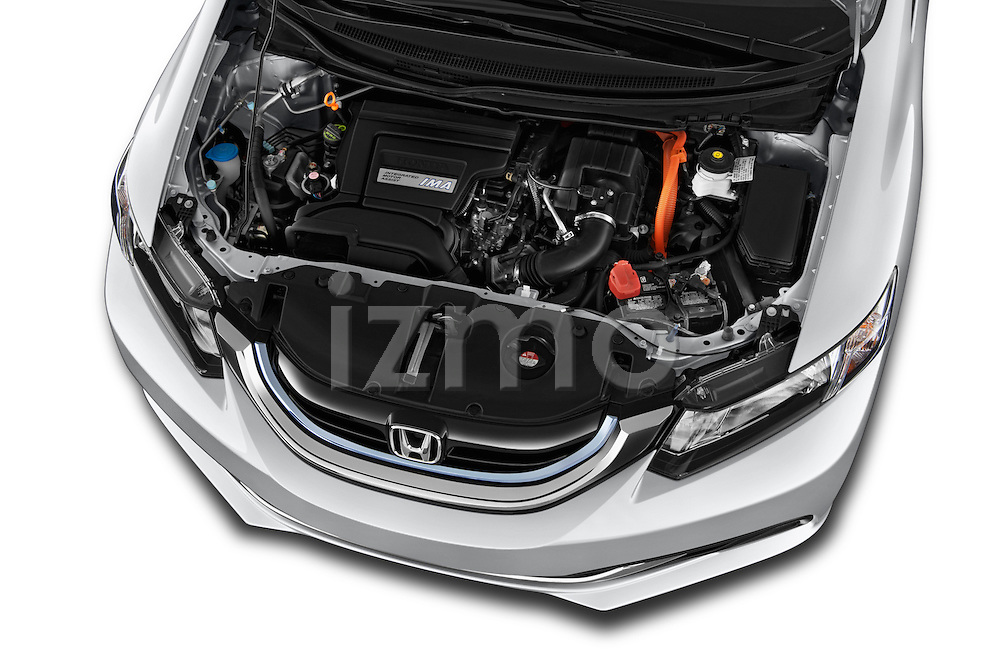 Car Stock 2014 Honda Civic Hybrid Hybrid CVT 4 Door Sedan Engine high angle detail view
