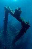 Looking down at a shipwreck near Faadhippolhu Atoll, Maldive Islands.