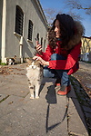 Woman With Street Cat In Istanbul