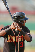 September 7 2009:  Hector Gomez of the Modesto Nuts during game against the High Desert Mavericks at Maverick Stadium in Adelanto,CA.  Photo by Larry Goren/Four Seam Images
