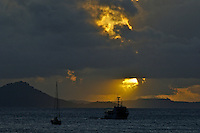 SUNSET OVER TRUK LAGOON, OR CALLED CHUUK, MICRONESIA, A WRECK DIVERS PARADISE, MICRONESIA, PACIFIC