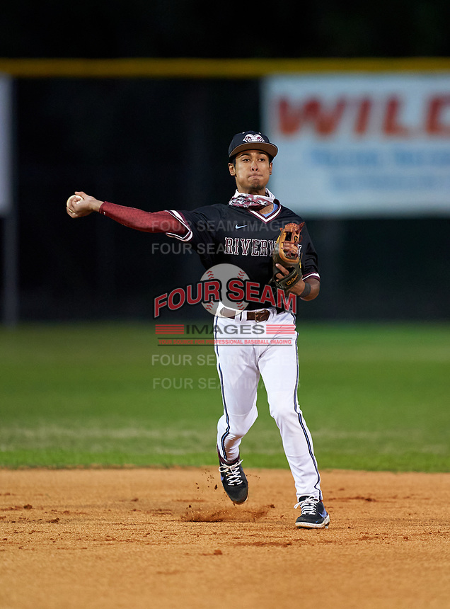 Riverview Rams second baseman Will Pacheco (2) during warmups before a game against the Sarasota Sailors on February 19, 2021 at Rams Baseball Complex in Sarasota, Florida. (Mike Janes/Four Seam Images)