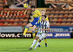 Dunfermline v St Johnstone…15.12.20   East End Park      BetFred Cup<br />Murray Davidson gets above Aaron Comrie<br />Picture by Graeme Hart.<br />Copyright Perthshire Picture Agency<br />Tel: 01738 623350  Mobile: 07990 594431