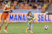 Houston, TX - Saturday June 17, 2017: Houston Dash Goalkeeper, Lydia Williams throws the ball to one of her teammates during a regular season National Women's Soccer League (NWSL) match between the Houston Dash and the Orlando Pride at BBVA Compass Stadium.