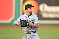 Dayton Dragons shortstop Matt McLain (23) throws to first base during a game against the Fort Wayne TinCaps on August 25, 2021 at Parkview Field in Fort Wayne, Indiana.  (Mike Janes/Four Seam Images)