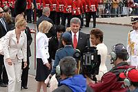 Ottawa (ON) CANADA, July 1st, 2007 -<br /> <br /> Bev Oda (L),<br /> Stephen Harper, Prime Minister of canada (M)<br />  Michaelle Jean  ;  Governor General (R) <br /> <br /> arrive at<br /> Canada day celebration in the national capital.<br /> photo : (c)  Michel Karpoff - Images Distribution