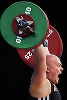 11 DEC 2011 - LONDON, GBR - Mart Seim (EST) lifts during the men's +105kg category Clean and Jerk of the London International Weightlifting Invitational and 2012 Olympic Games test event held at the ExCel Exhibition Centre in London, Great Britain .(PHOTO (C) NIGEL FARROW)