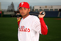 February 24, 2010:  Infielder Freddy Galvis (71) of the Philadelphia Phillies poses during photo day at Bright House Field in Clearwater, FL.  Photo By Mike Janes/Four Seam Images