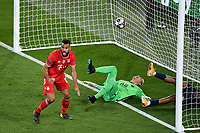 13th April 2021; Parc de Princes, Paris, France; UEFA Champions League football, quarter-final; Paris Saint Germain versus Bayern Munich; ERIC MAXIM CHOUPO MOTING (BAY) wins the header to score for 0-1 in the 40th minute
