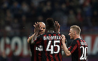 Calcio, Serie A: Milan vs Juventus. Milano, stadio San Siro, 9 aprile 2016. <br /> AC Milan's Alex, left, celebrates with teammates Mario Balotelli, center, and Ignazio Abate, after scoring during the Italian Serie A football match between AC Milan and Juventus at Milan's San Siro stadium, 9 April 2016.<br /> UPDATE IMAGES PRESS/Isabella Bonotto