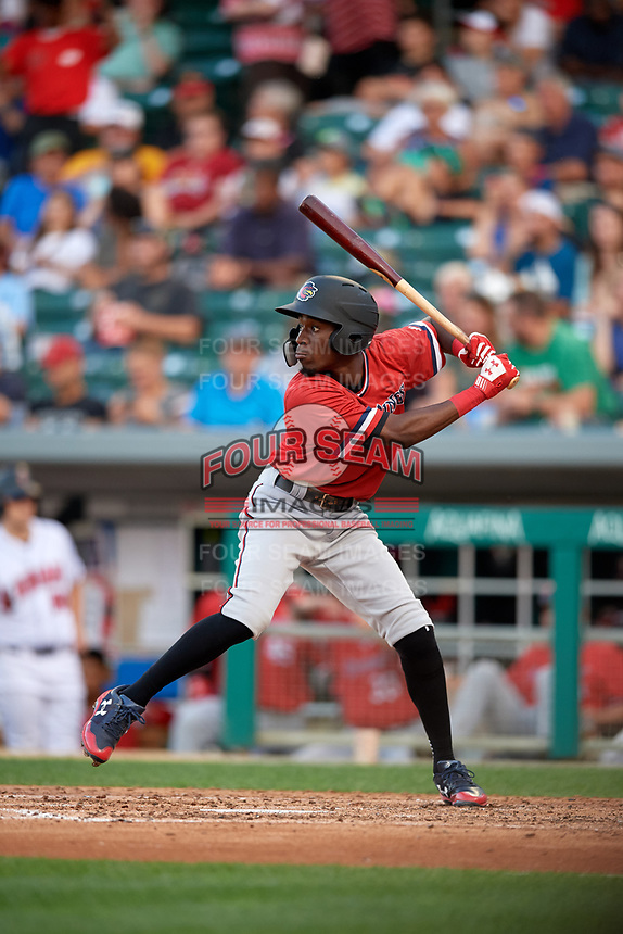 Rochester Red Wings shortstop Nick Gordon (1) at bat during a game against the Indianapolis Indians on July 24, 2018 at Victory Field in Indianapolis, Indiana.  Rochester defeated Indianapolis 2-0.  (Mike Janes/Four Seam Images)